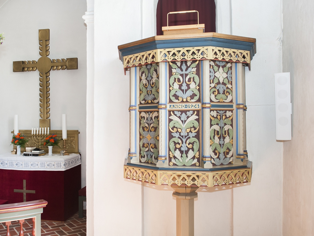 The pulpit is from 1924, but is inspired by a pulpit from 1582. Photo: Esbjerg Town Historical Archives, Torben Meyer.