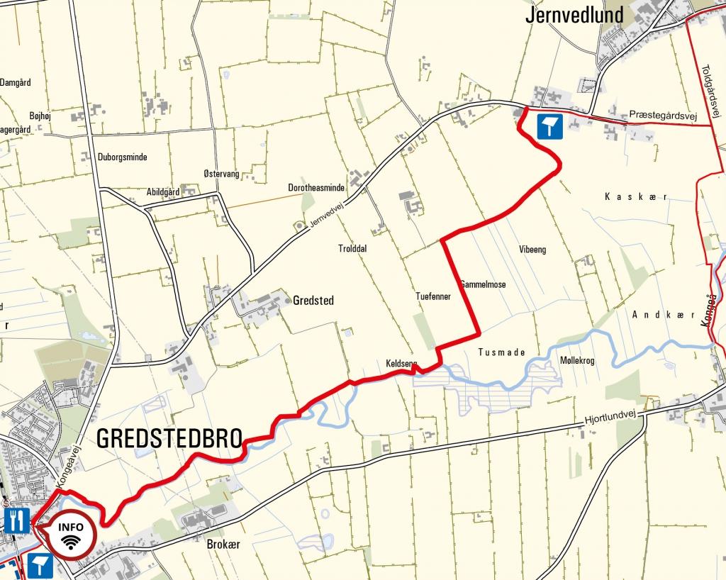 Kort - Gredstedbro til Jernvedlund. Kortet indeholder data fra Geodatastyrelsen, Kort10.