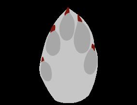 Harens spor har et karakteristisk mønster af forben og bagben. Når den løber, vil de lange bagben afsætte spor foran forpoternes spor. Forpoternes (illustration) spor er ægformede og ca. 3 cm. brede og 5 cm lange og bagpoternes spor kan være mere aflange, 3,5 cm. brede og 6 cm lange.