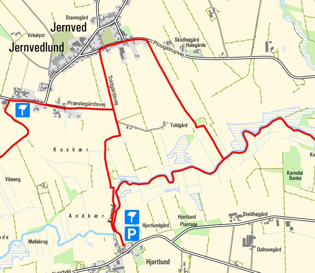 Kort - rundtur Hjortlund og Jernvedlund. Kortet indeholder data fra Geodatastyrelsen, Kort10.