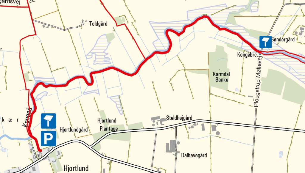 Map - Hjortlund to Plovstrup. The map displays data from Geodatastyrelsen, Kort10.
