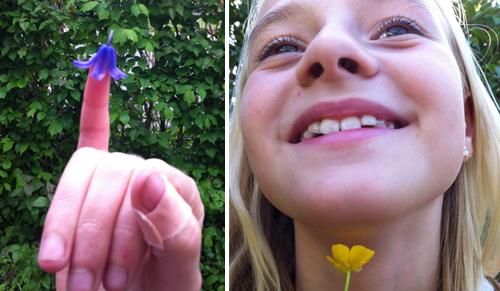 Klokkeblomst på fingeren og smørblomst under hagen. Fotos: Anne-Vibe Jensen.