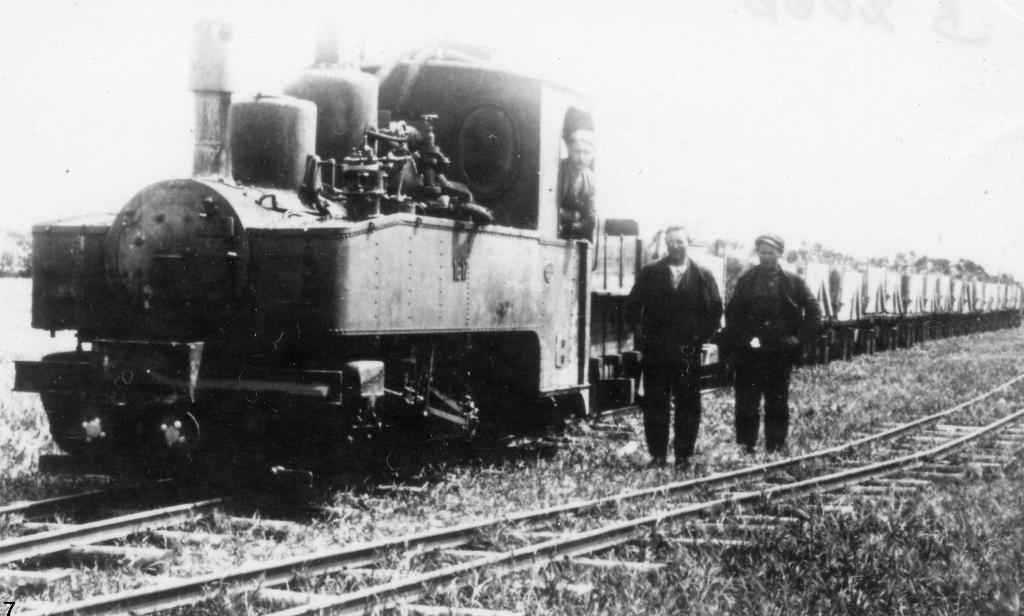 Tipvognstog fra mergel fra mergellejerne i Københoved. Foto Vejen Lokalhistoriske Arkiv