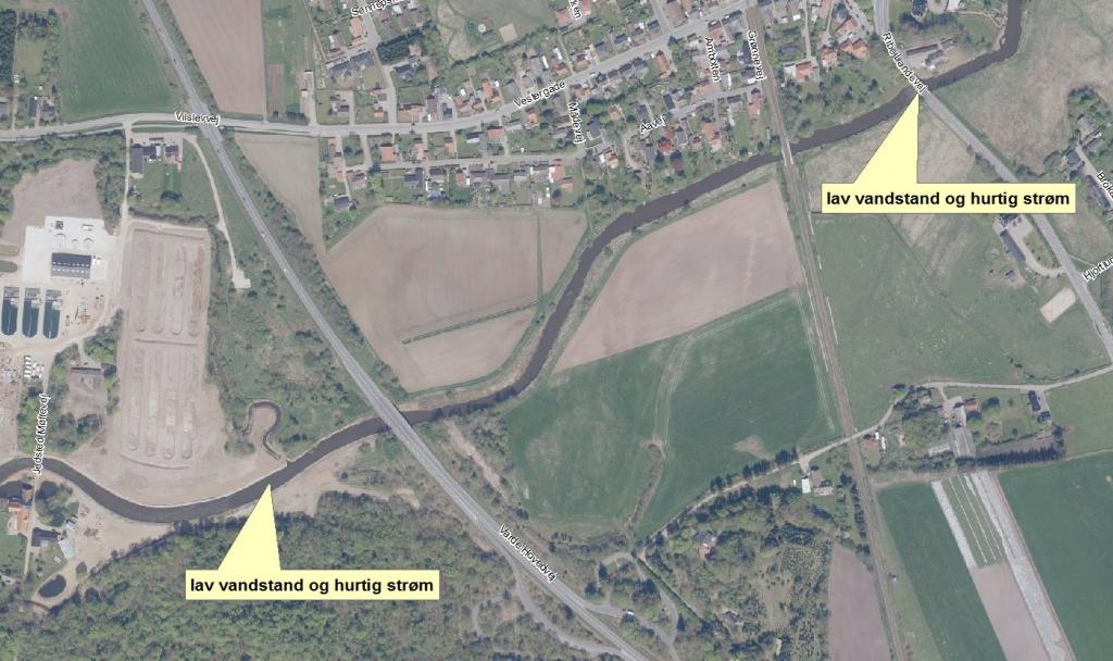 Kort over farlige passager ved Gredstedbro og Vilslev