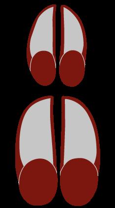 Hjortens fodspor eller klovaftryk er 8-9 cm langt og 6-7 cm bredt. Hindens klovaftryk er 6-7 cm langt og 4-5 cm bredt.