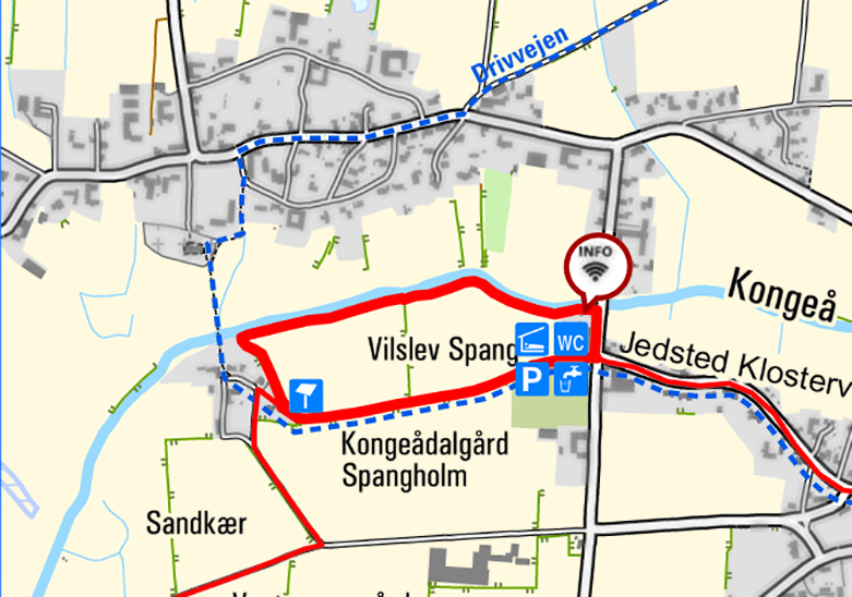 Map - round trip in Vilslev. The map displays data from Geodatastyrelsen, Kort10.