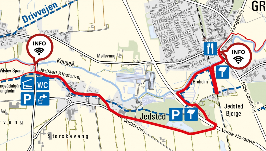 Kort over ruten fra Vilslev til Gredstedbro. Kortet indeholder data fra Geodatastyrelsen, Kort10.